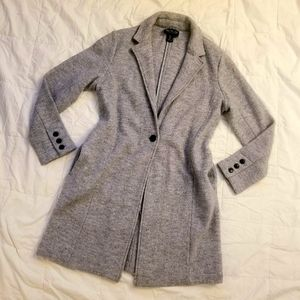 UO, GRAY WOOL FITTED BUTTON FRONT TRENCH COAT